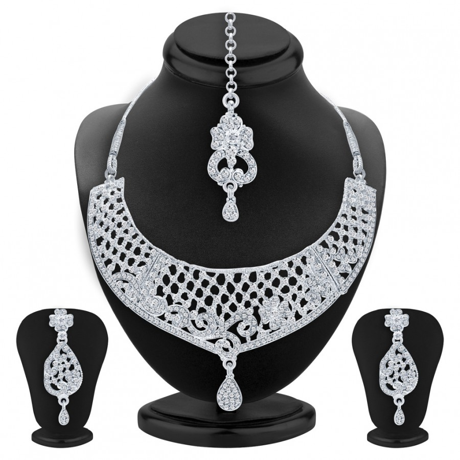Buy Sukkhi Glimmery Rhodium Plated AD Necklace Set For Women Online