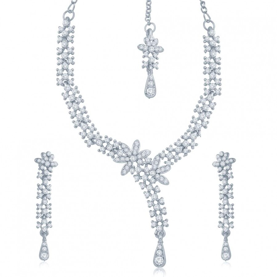 Buy Sukkhi Pretty Rhodium Plated Australian Diamond Stone Studded Necklace Set Online