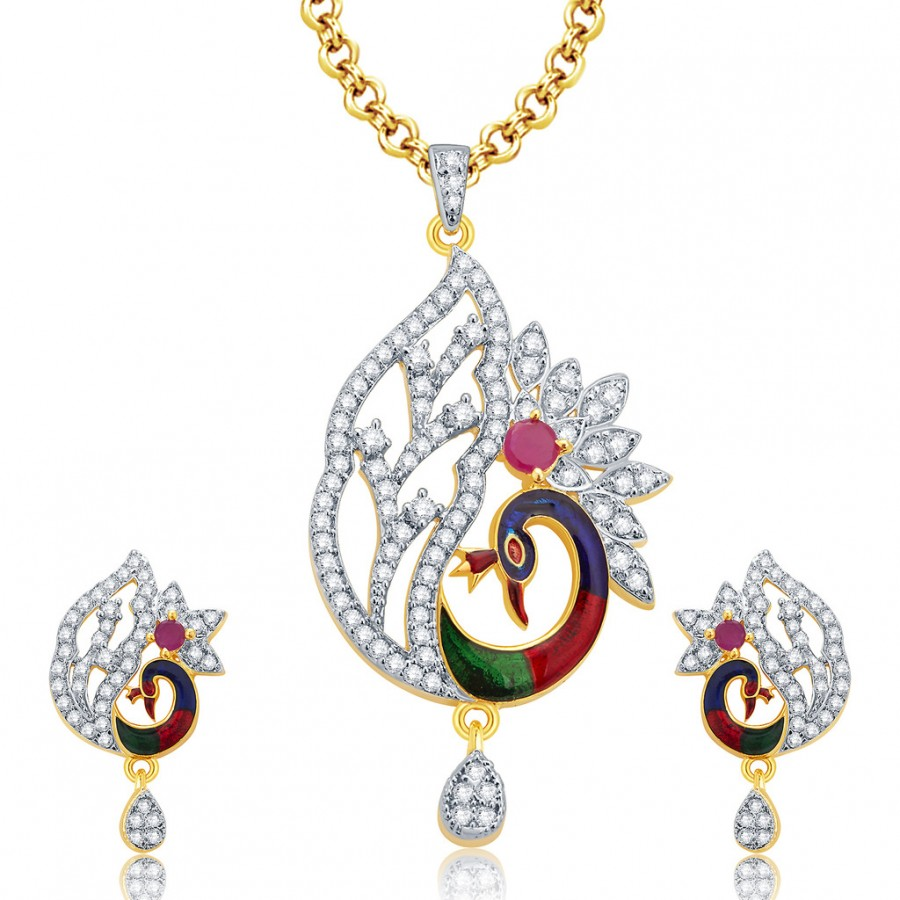 Buy Pissara Rousing Peacock Gold And Rhodium Plated Ruby CZ Pendant Set For Women Online