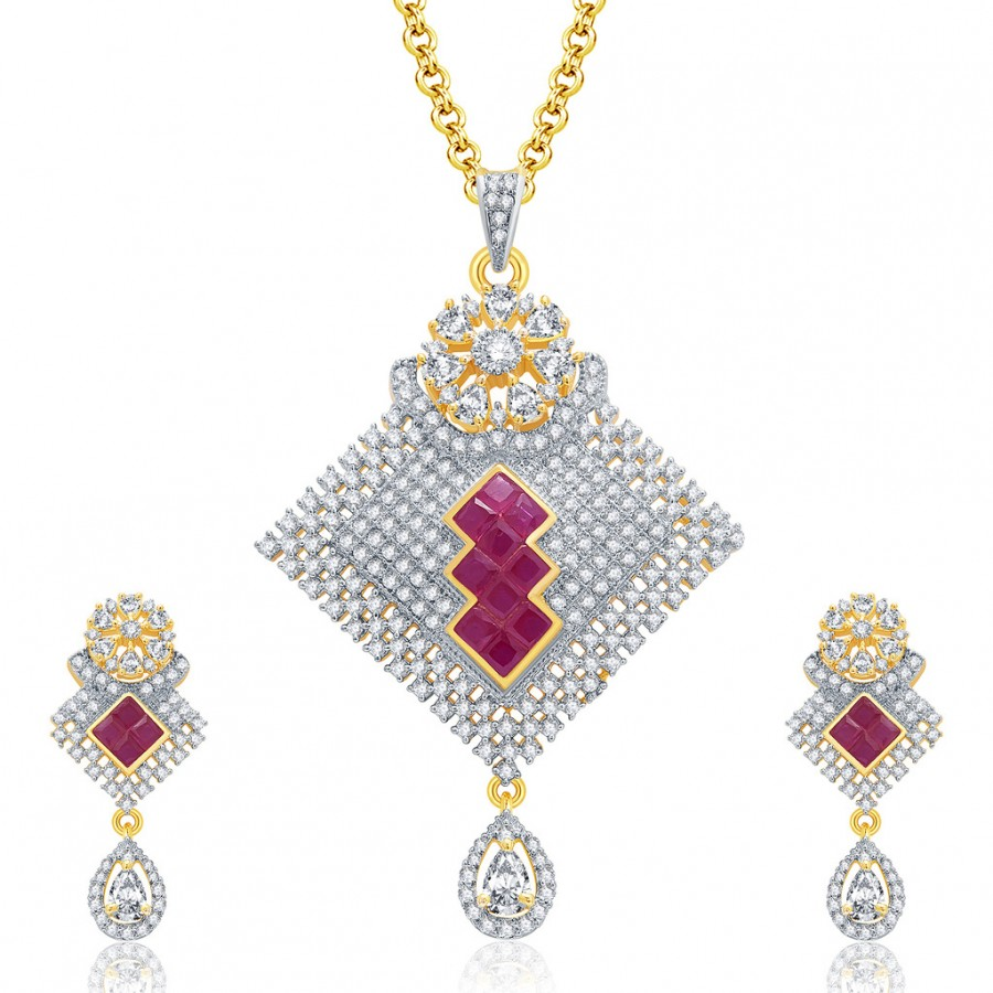 Buy Pissara Encrusted Gold And Rhodium Plated Ruby CZ Pendant Set For Women Online