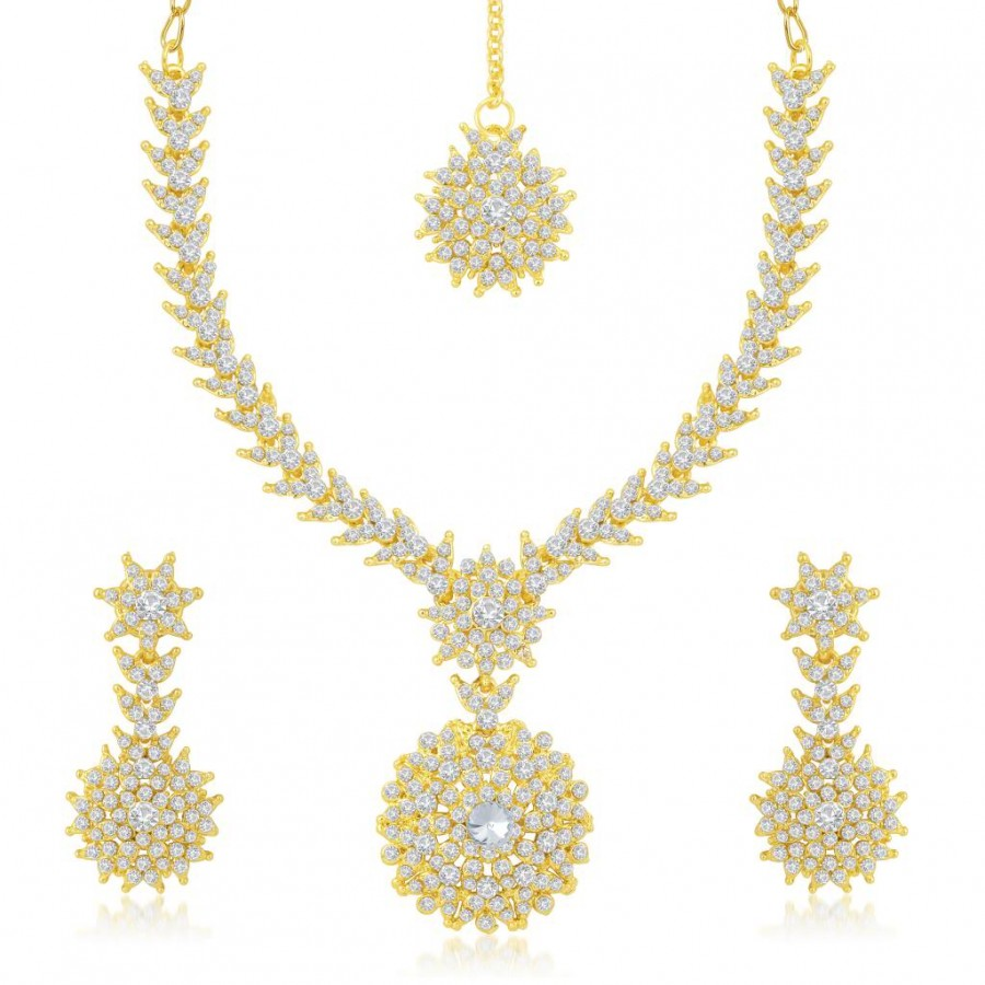 Buy Sukkhi Gracefull Gold Plated Australian Diamond Stone Studded Necklace Set Online