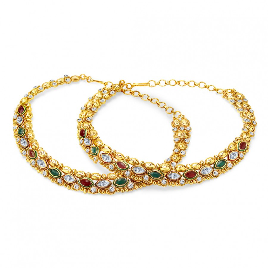 Buy Sukkhi Modish Gold Plated AD Anklet For Women Online