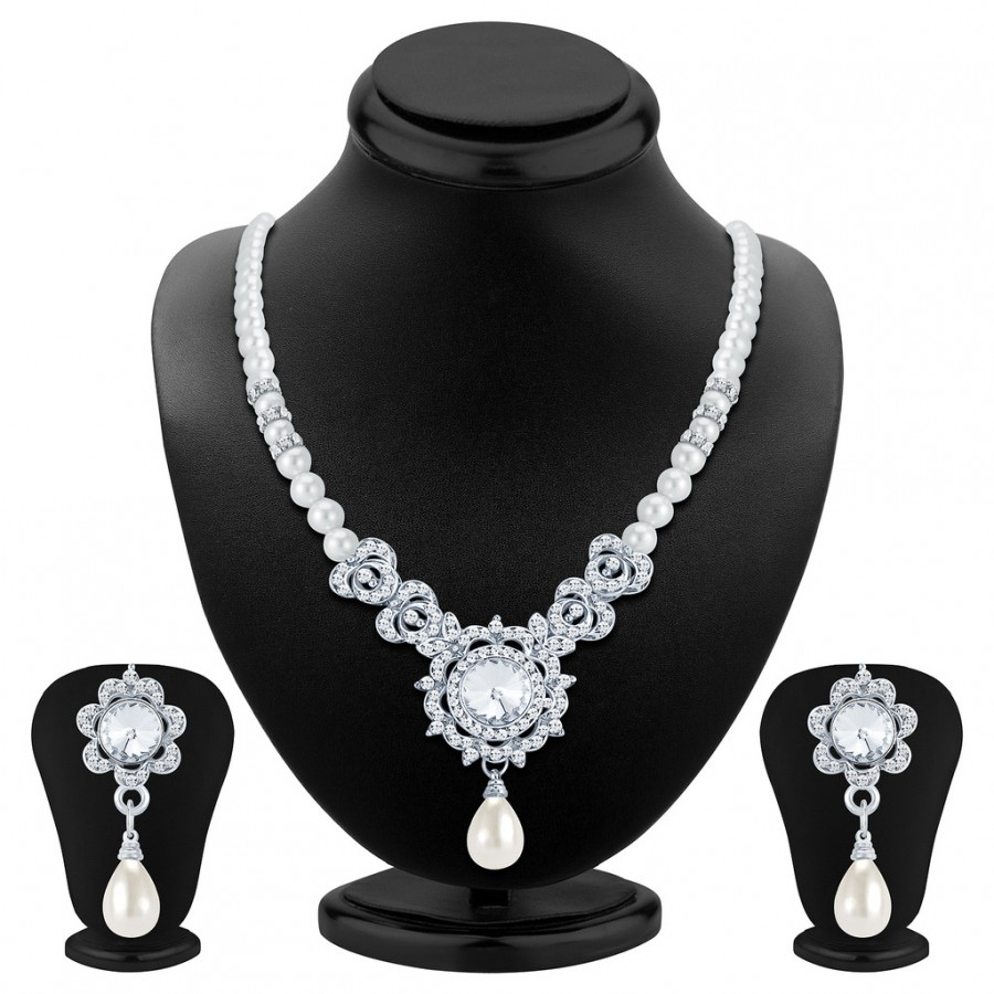 Buy Sukkhi Modern Rhodium Plated AD Necklace Set Online