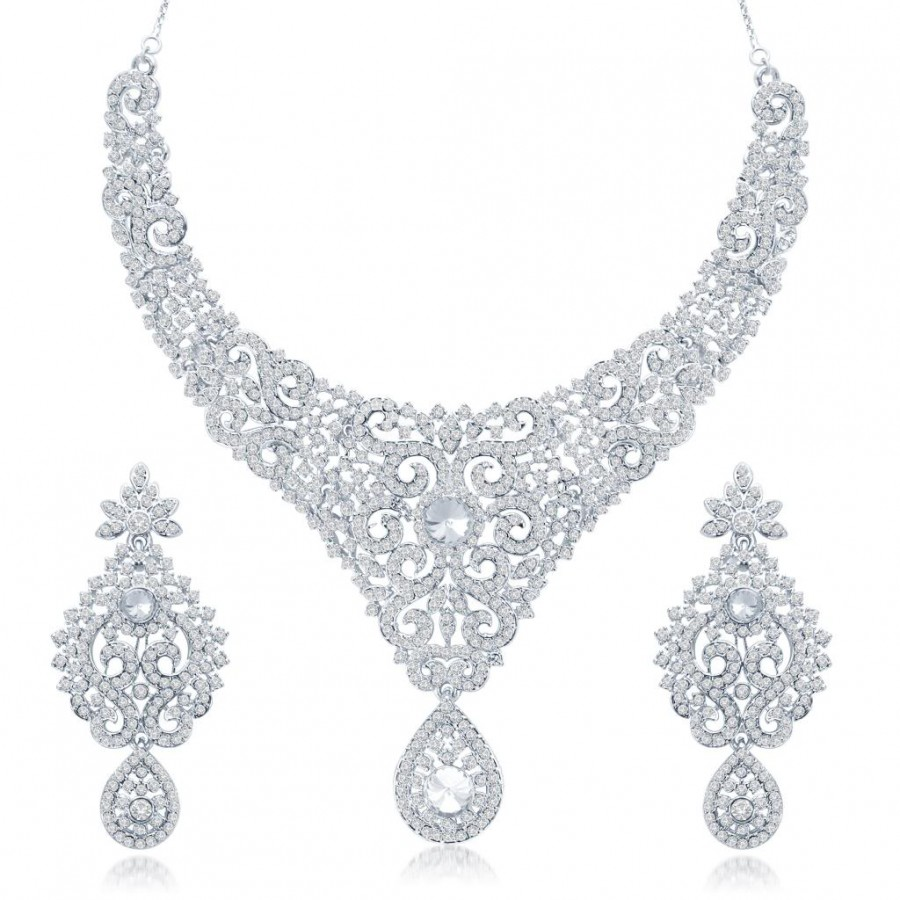 Buy Sukkhi Bewitching Gold and Rhodium Plated Australian Diamond Stone Studded Necklace Set Online