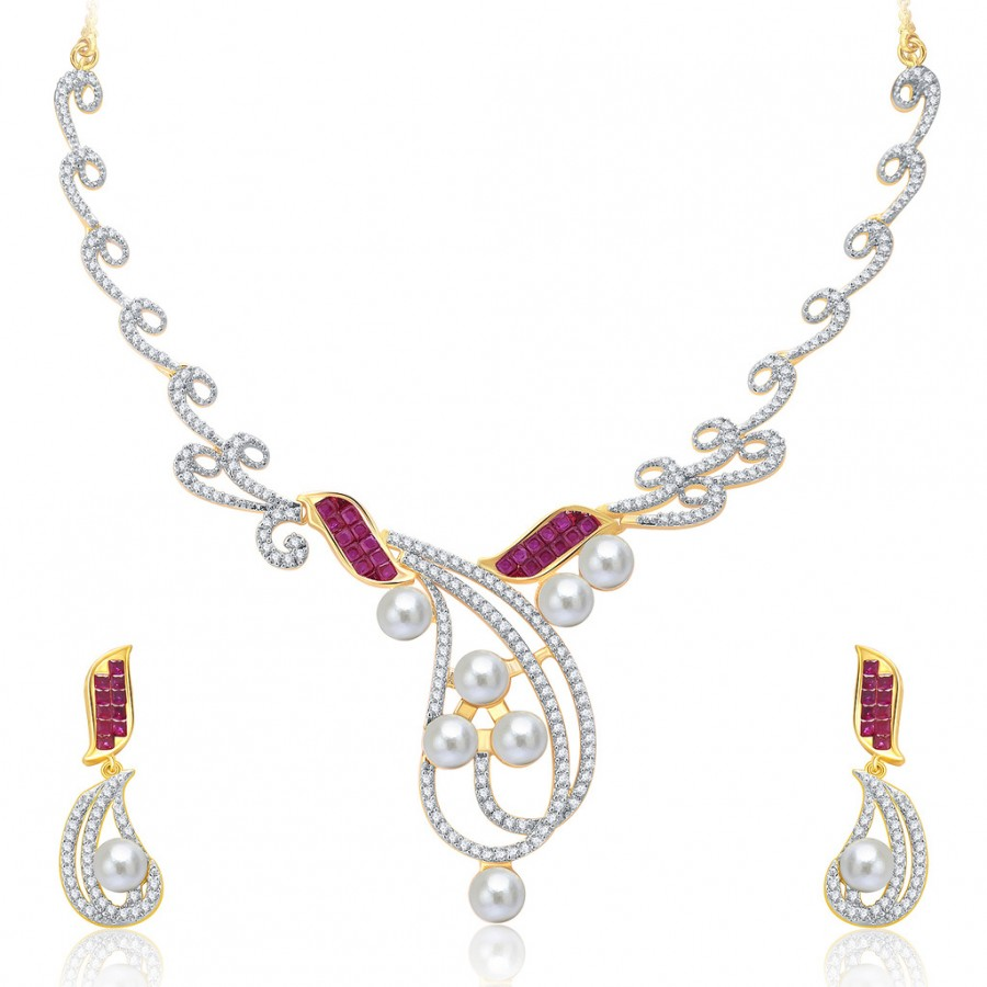 Buy Pissara Mystical Gold And Rhodium Plated Ruby CZ Neklace Set For Women Online
