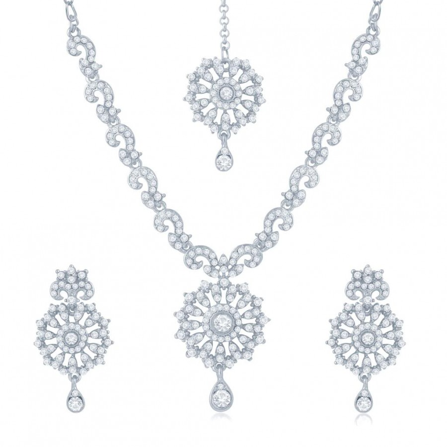 Buy Sukkhi Glittery Rhodium Plated Australian Diamond Stone Studded Necklace Set Online