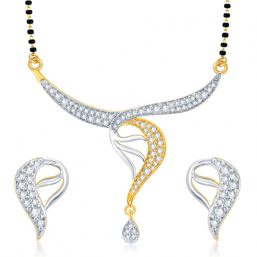 Buy Pissara Luxurious Gold and Rhodium Plated CZ Mangalsutra Set Online