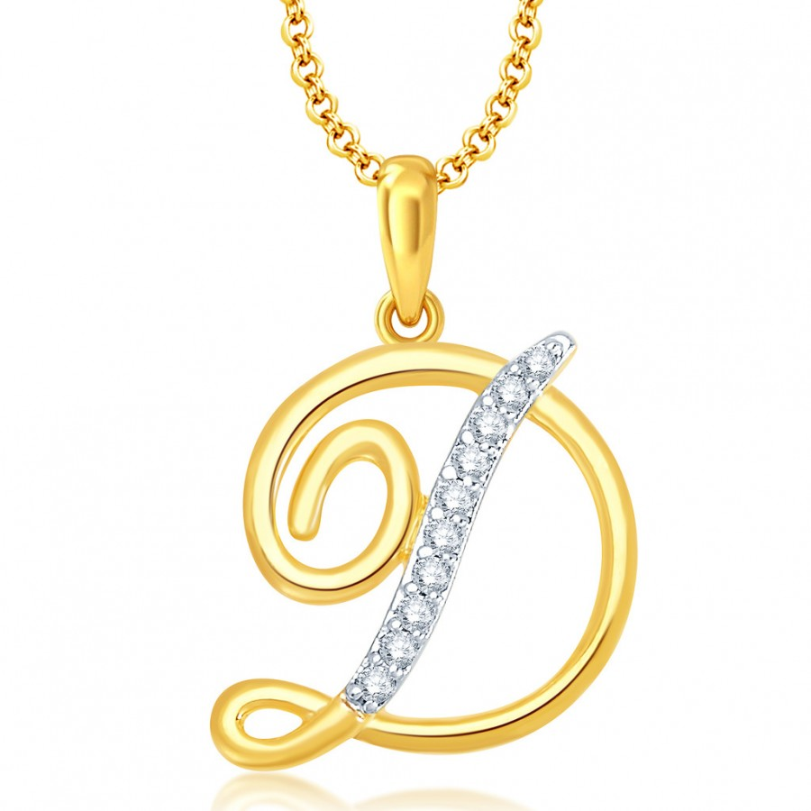 "Buy Pissara Letter"" D"" Gold and Rhodium Plated CZ Alphabet Pendant Online"