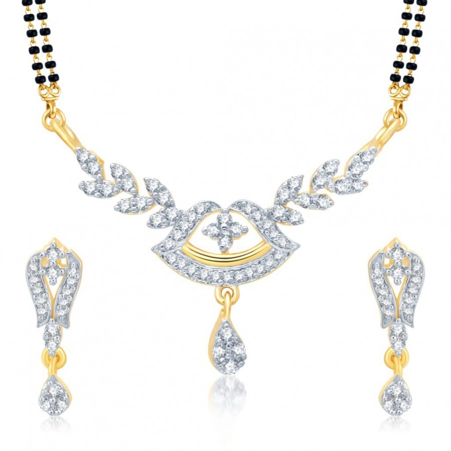Buy Pissara Ritzzy Gold and Rhodium Plated Cubic Zirconia Stone Studded Mangalsutra Set Online
