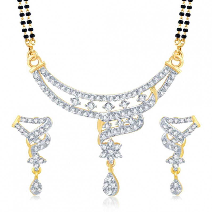Buy Pissara Traditionally Gold and Rhodium Plated Cubic Zirconia Stone Studded Mangalsutra Set Online