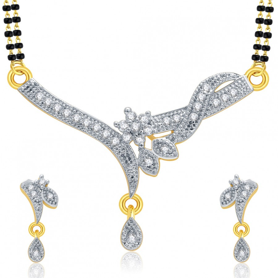 Buy Pissara Subtle Gold And Rhodium Plated CZ Mangalasutra Set For Women Online