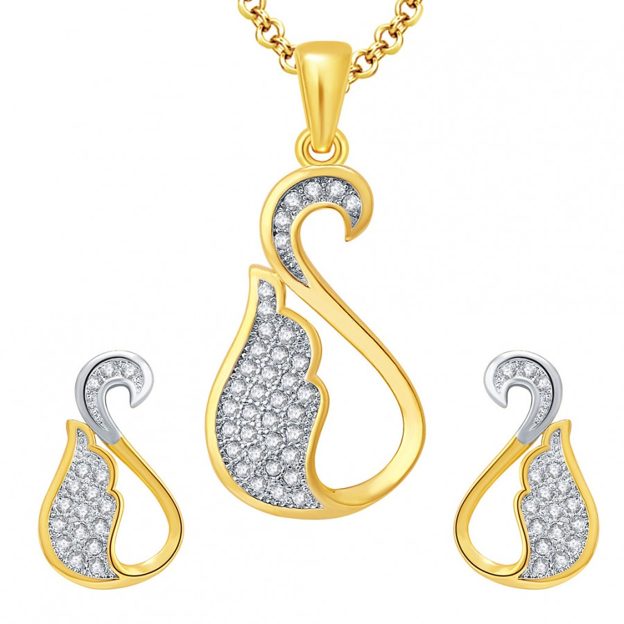 Buy Pissara Swan Gold And Rhodium Plated CZ Pendant Set For Women Online