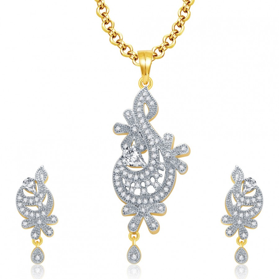 Buy Pissara Graceful Gold And Rhodium Plated CZ Pendant Set For Women Online