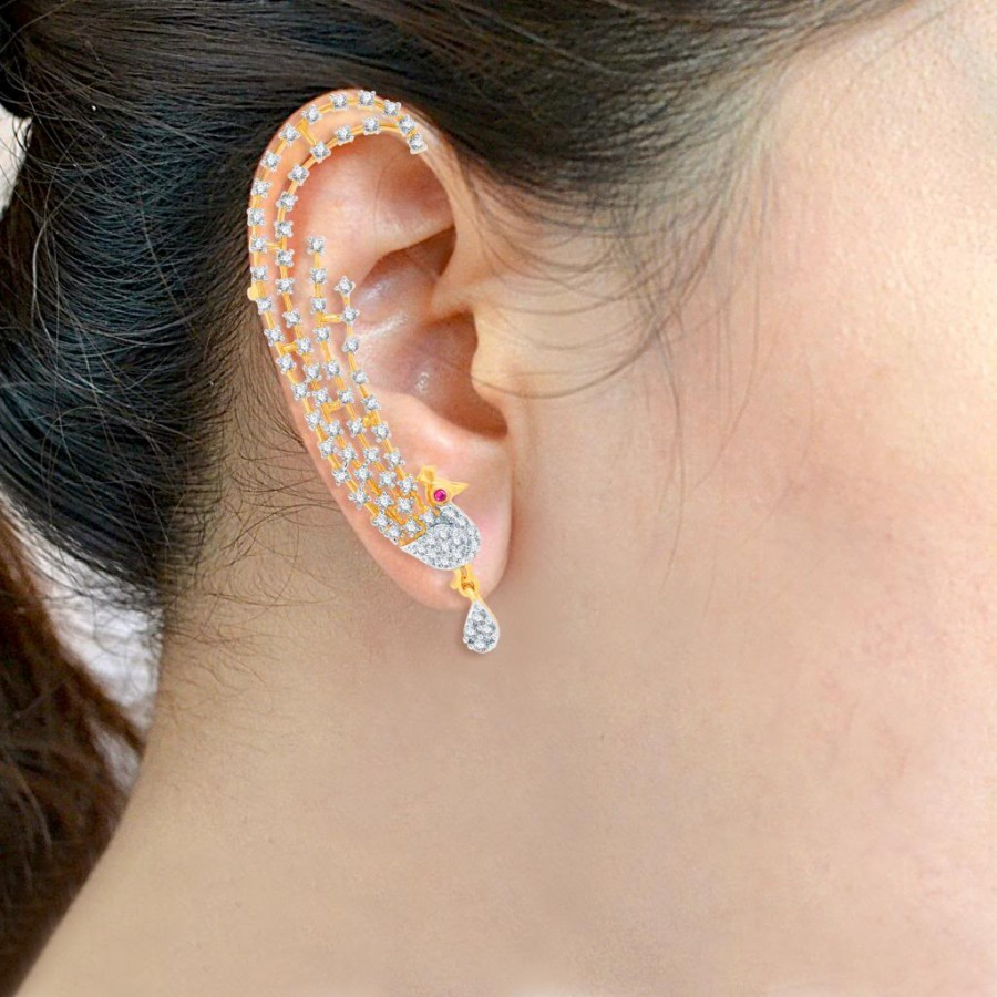 Buy Pissara Sublime Gold and Rhodium Plated Cubic Zirconia Stone Studded Ear cuff Online