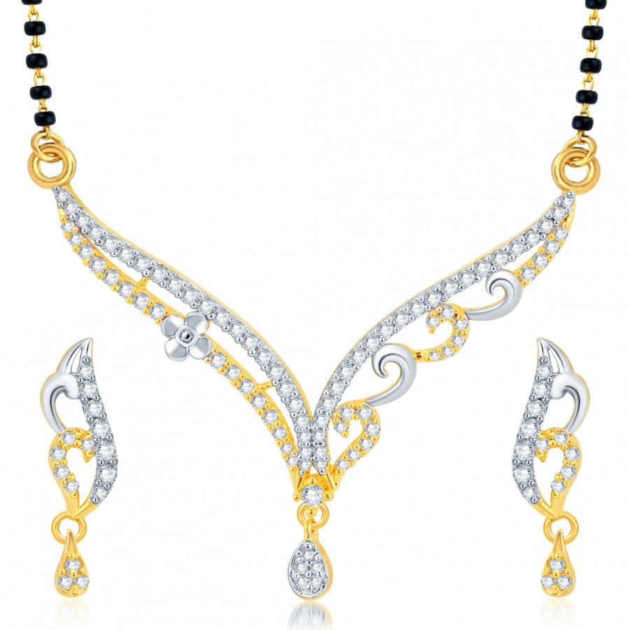 Buy Pissara Traditionally Gold and Rhodium Plated CZ Mangalsutra Set Online
