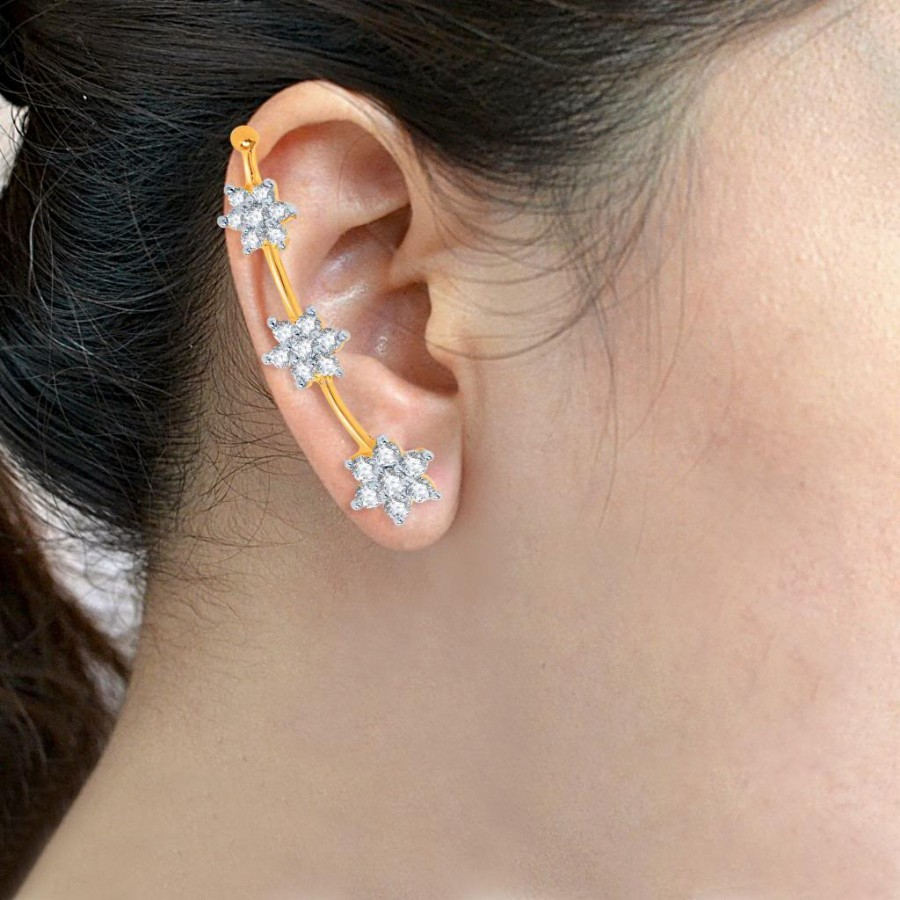 Buy Pissara Artistically Gold and Rhodium Plated Cubic Zirconia Stone Studded Ear cuff Online