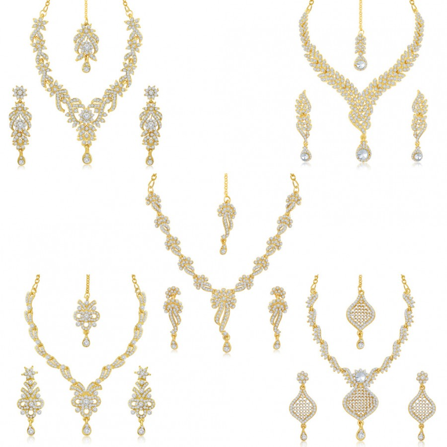 Buy Sukkhi Incredible 5 Pieces Necklace Set Combo Online