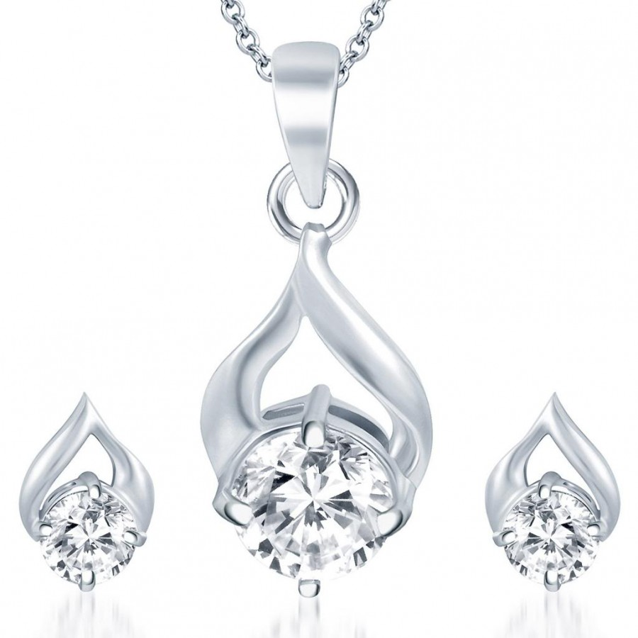 Buy Pissara Fabulous Rhodium Plated Solitaire CZ Pendant Set Online