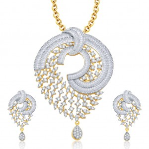 Buy Pissara Glamorous Gold And Rhodium Plated CZ Pendant Set For Women Online