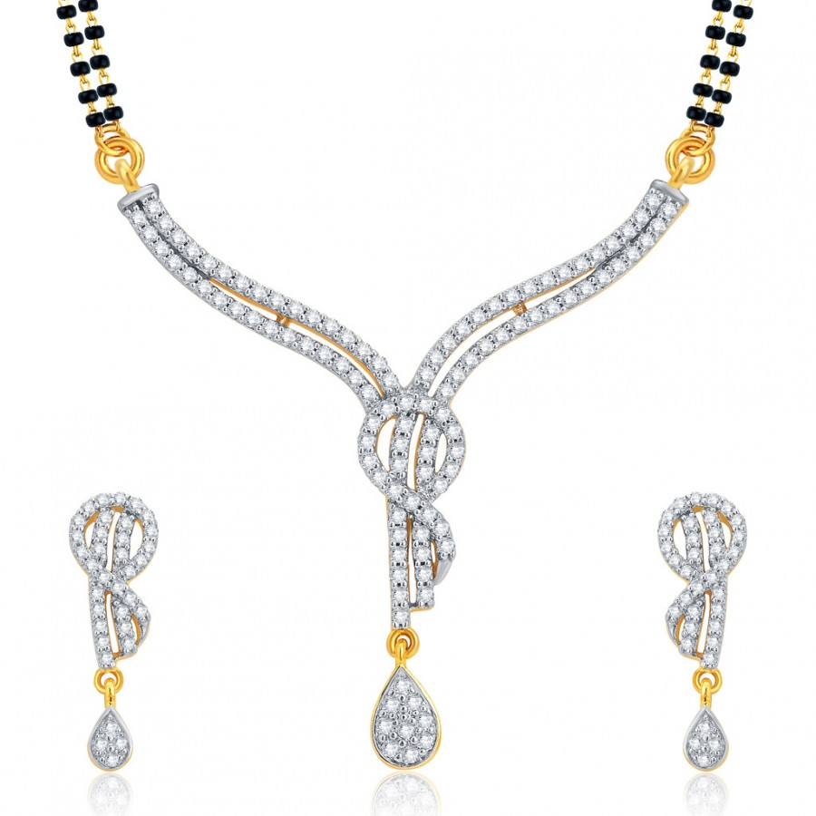 Buy Pissara Ravishing Gold and Rhodium Plated CZ Mangalsutra Set For Women Online