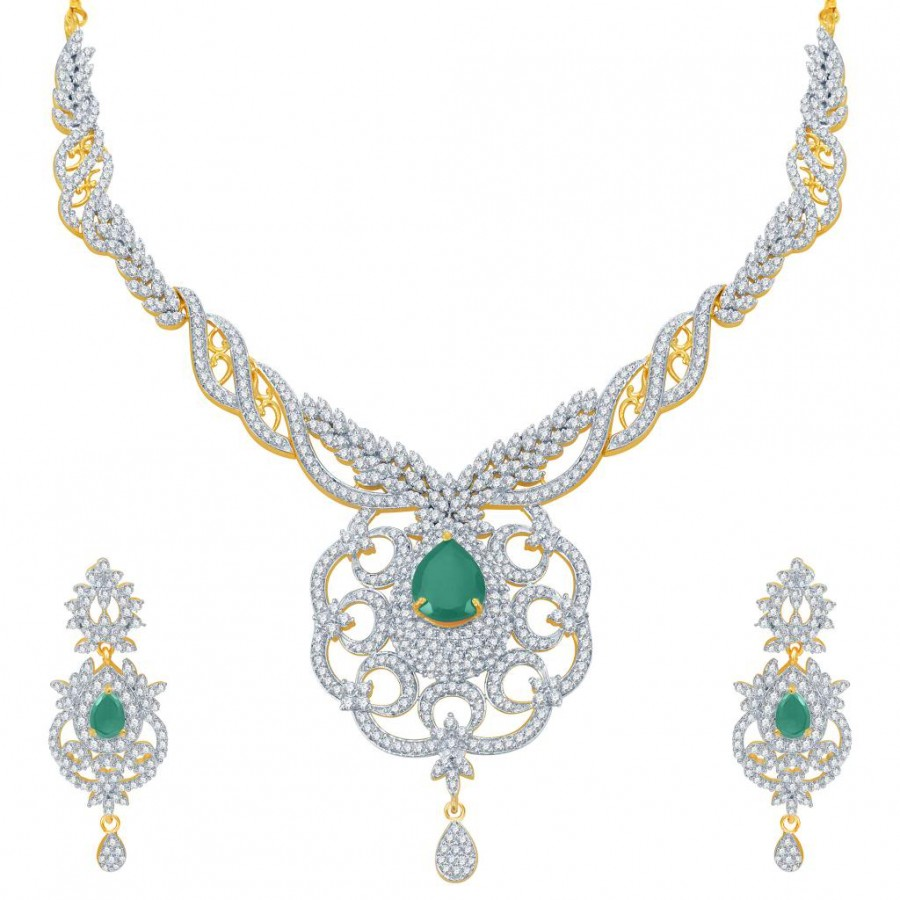 Buy Pissara Modern Emerald Studded Gold and Rhodium Plated CZ Necklace Set Online