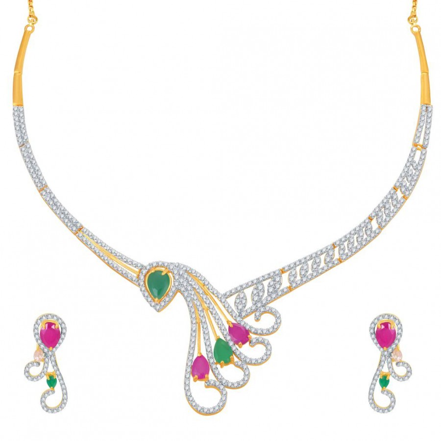 Buy Pissara Estonish Ruby and Emerald Studded Gold and Rhodium Plated CZ Necklace Set Online