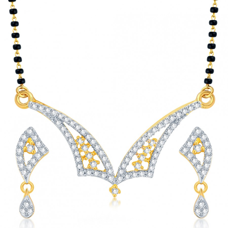 Buy Pissara Stylish Gold and Rhodium Plated CZ Mangalsutra Set Online
