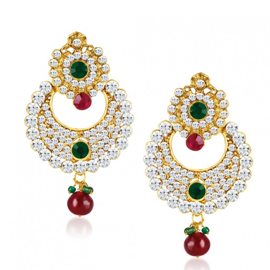 Buy Sukkhi Chandbali Gold Plated Australian Diamond Earrings Online