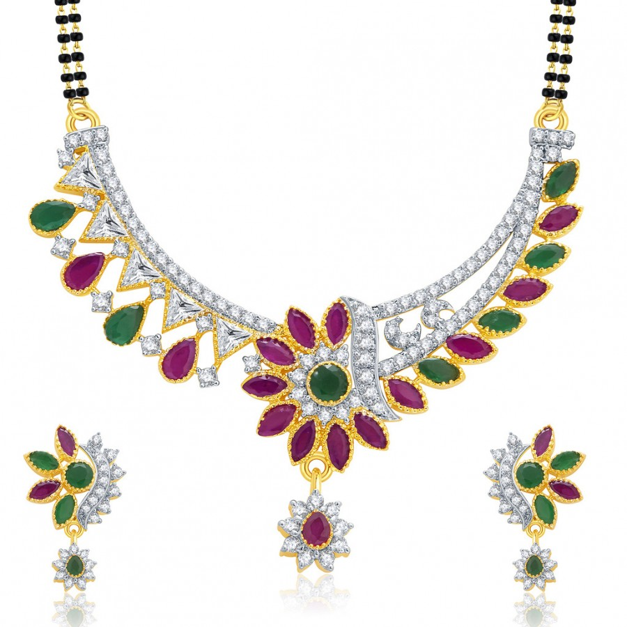 Buy Pissara Majestic Gold And Rhodium Plated Ruby CZ Mangalasutra Set For Women Online