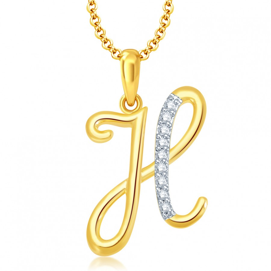 "Buy Pissara Letter"" H"" Gold and Rhodium Plated CZ Alphabet Pendant Online"