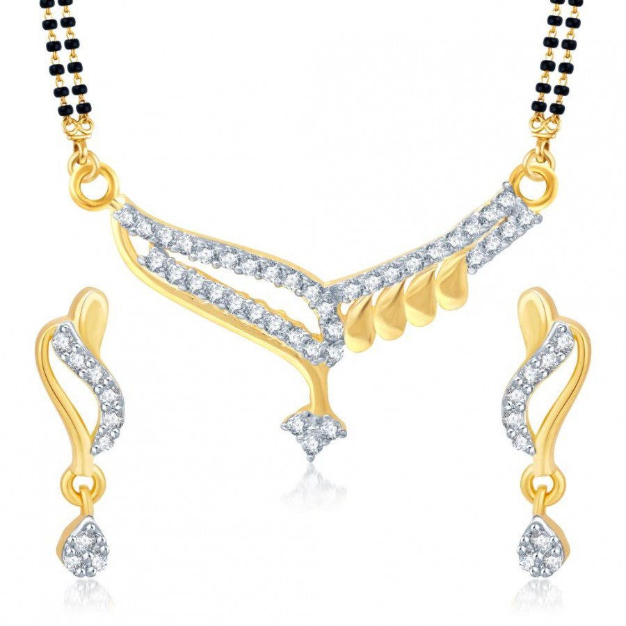 Buy Pissara Gorgeous Gold and Rhodium Plated Cubic Zirconia Stone Studded Mangalsutra Set Online