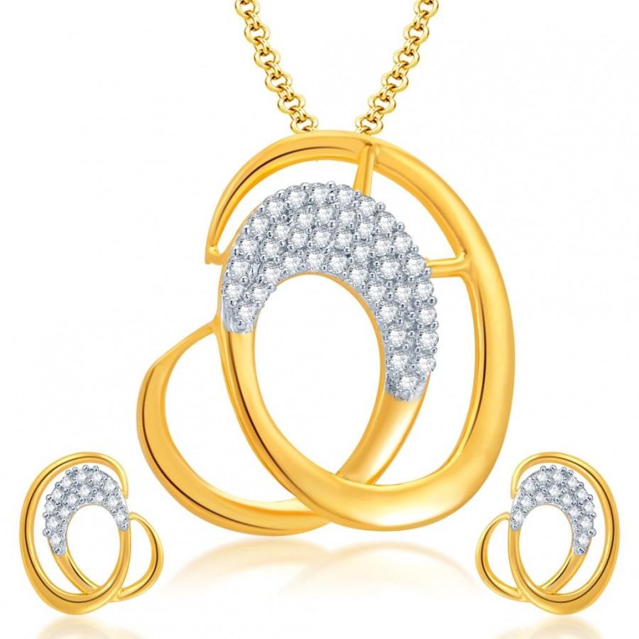 Buy Pissara Fascinating Gold and Rhodium Plated CZ Pendant Set for Women Online
