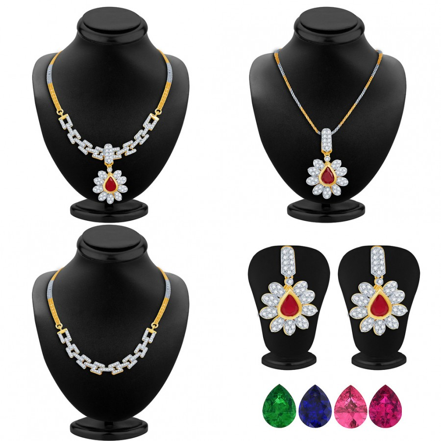 Buy Pissara Creative Detachable 4 in 1 CZ Jewellery Set with Chain and 5 Changeable Stone Online