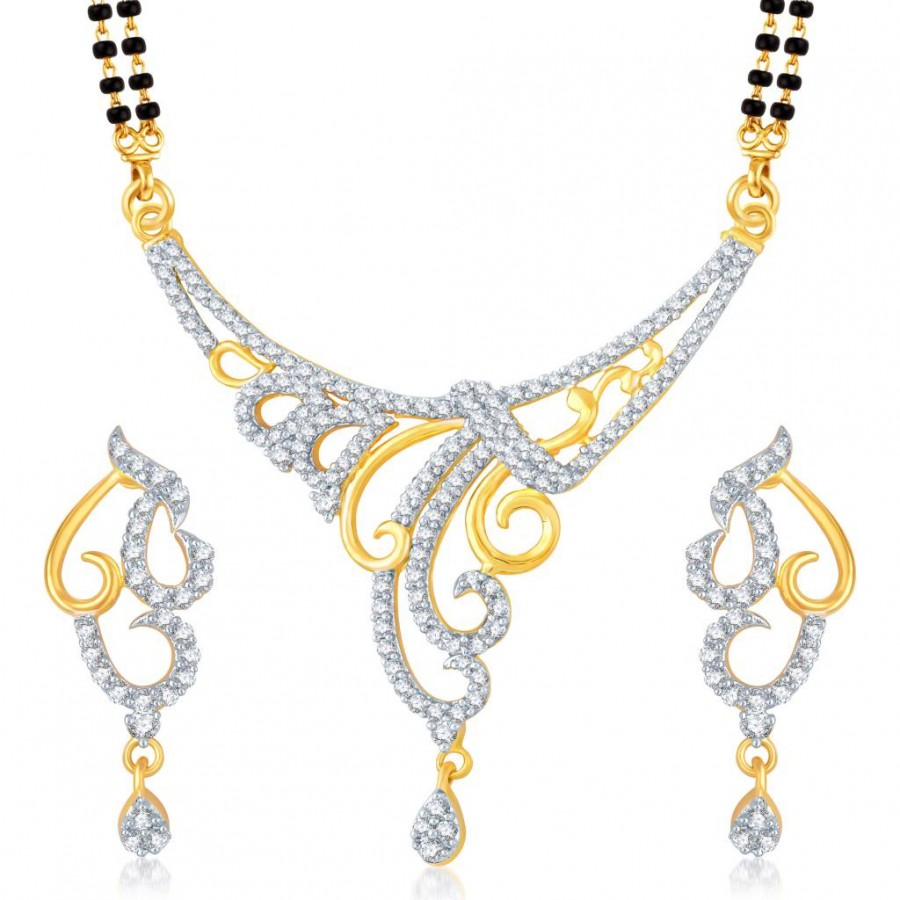 Buy Pissara Eye-Catchy Gold and Rhodium Plated Cubic Zirconia Stone Studded Mangalsutra Set Online