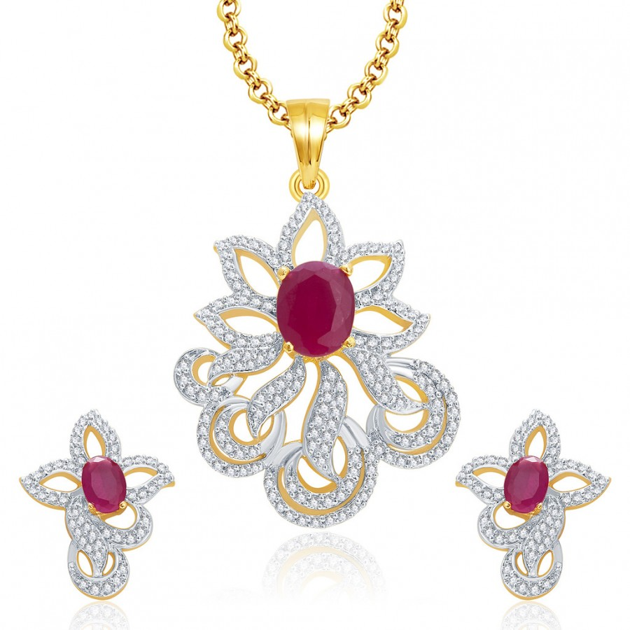Buy Pissara Subtle Gold And Rhodium Plated Ruby CZ Pendant Set For Women Online