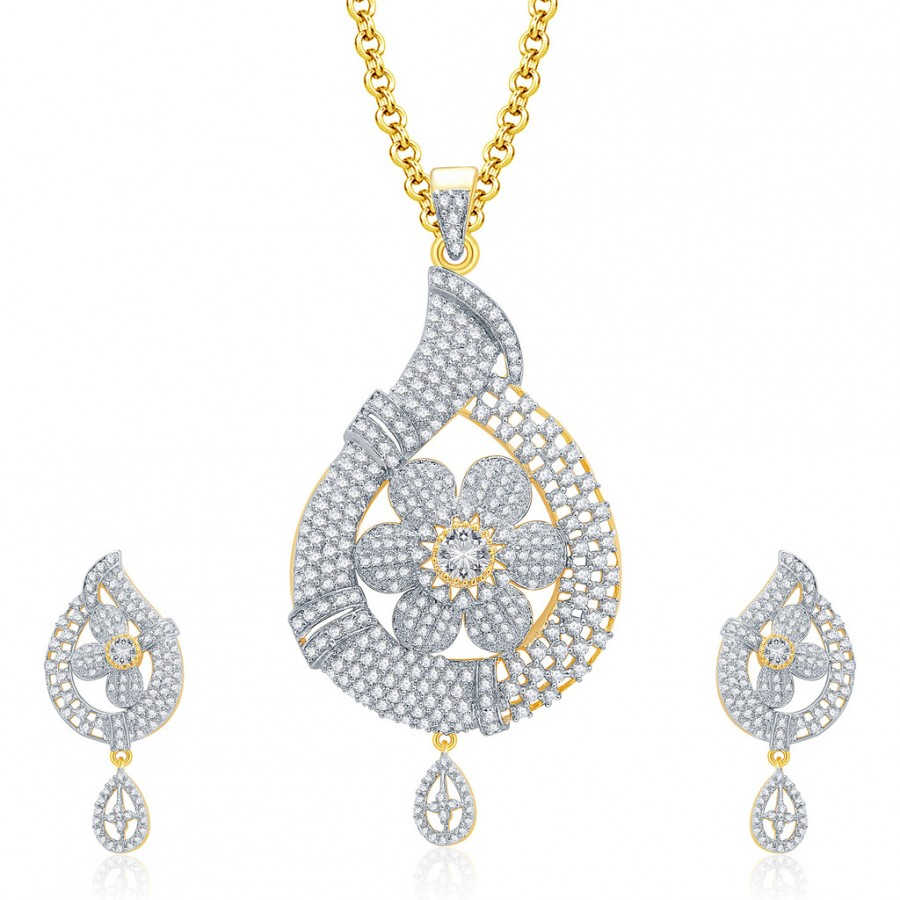 Buy Pissara Startling Gold And Rhodium Plated CZ Pendant Set For Women Online