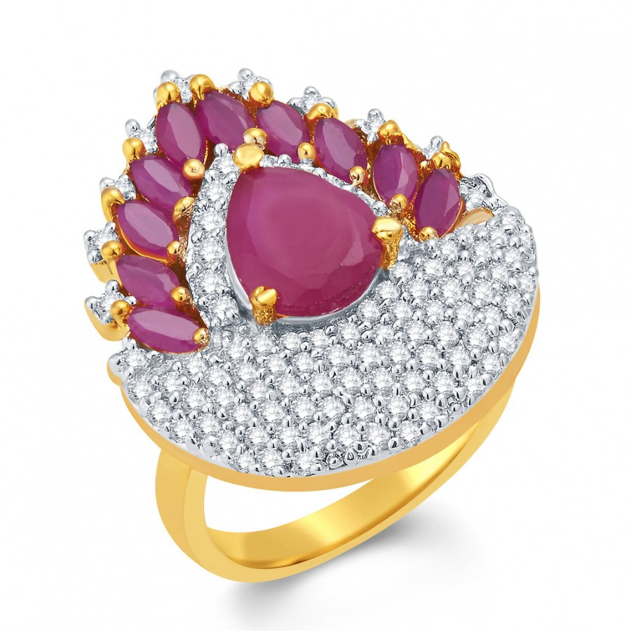 Buy Pissara Flawless Gold And Rhodium Plated Ruby CZ Ring For Women Online
