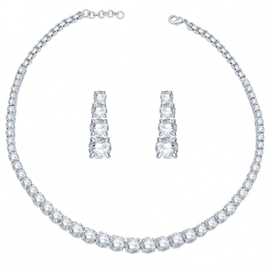 Buy Pissara Rhodium Plated CZ Single string Solitaires Necklace Set - 1168VN9000 Online
