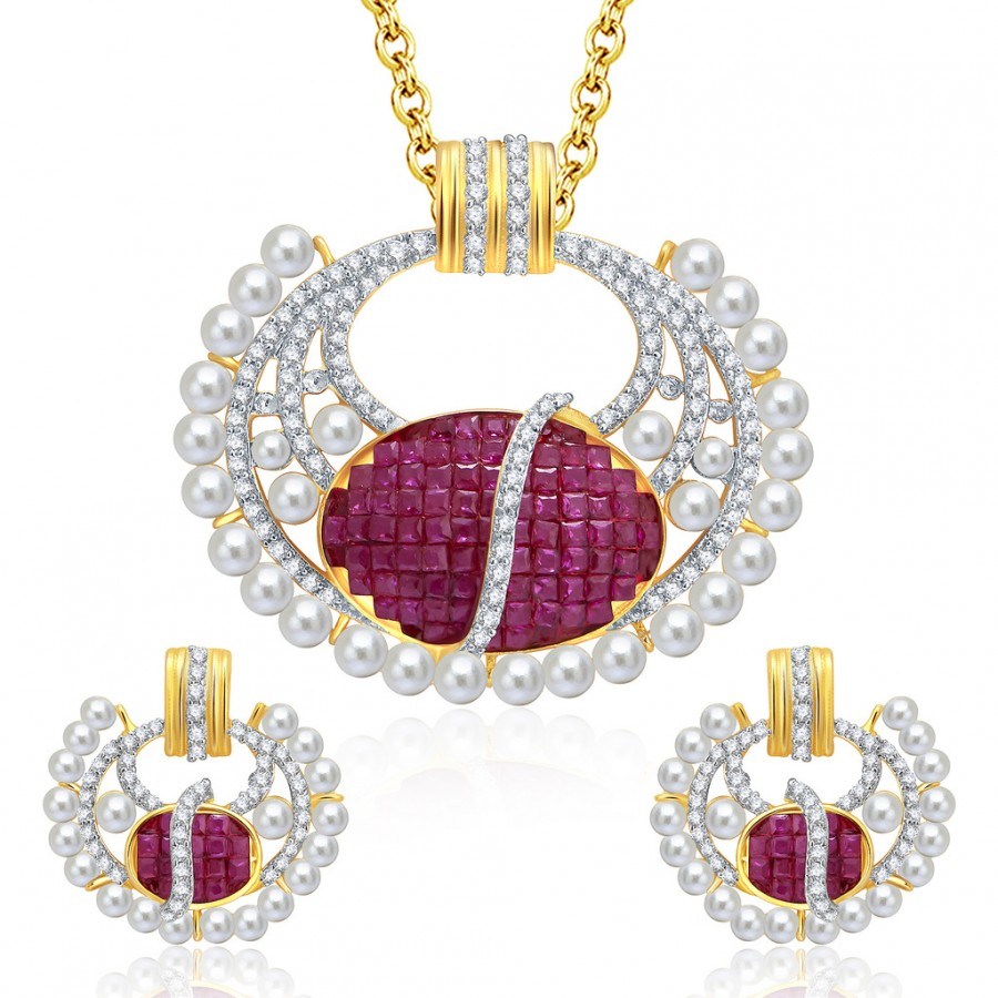 Buy Pissara Distinctive Gold And Rhodium Plated Ruby CZ Pendant Set For Women Online