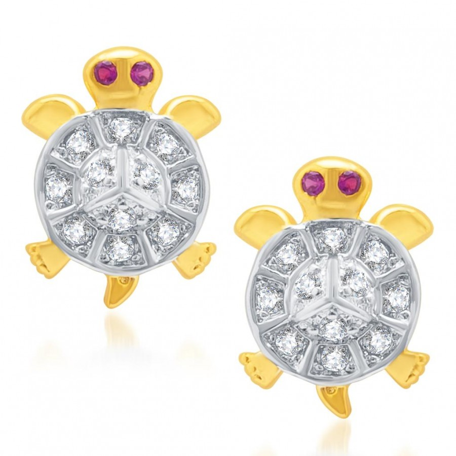 Buy Pissara Stylish Gold and Rhodium Plated Micro Pave CZ Earrings Online
