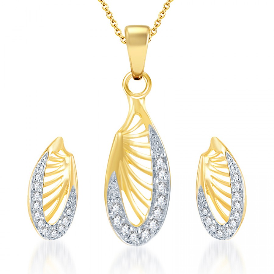 Buy Pissara Splendid Gold and Rhodium Plated CZ Pendant Set Online