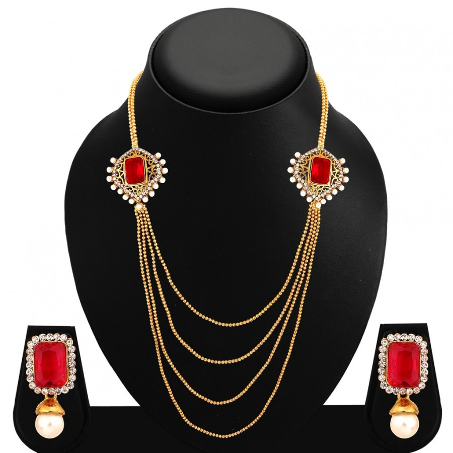 Buy Sukkhi Fashionable Four Strings Gold Plated AD Necklace Set For Women Online