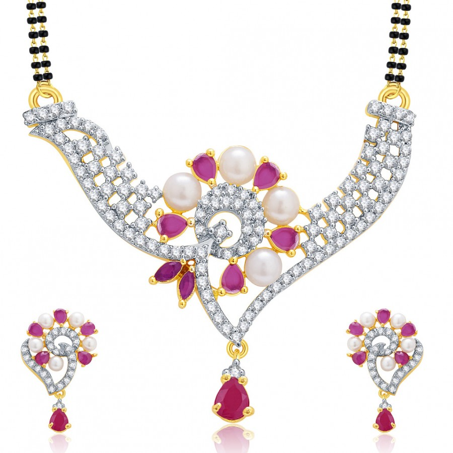 Buy Pissara Vibrant Gold And Rhodium Plated Ruby CZ Mangalasutra Set For Women Online