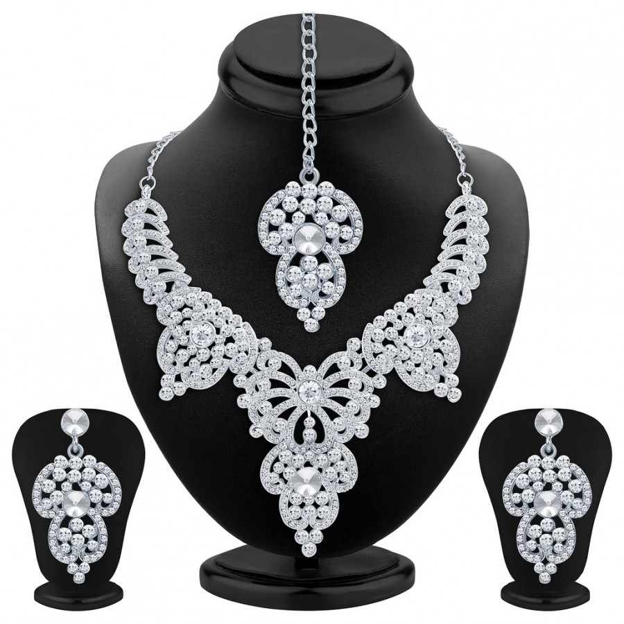 Buy Sukkhi Marvellous Rhodium Plated AD Necklace Set Online