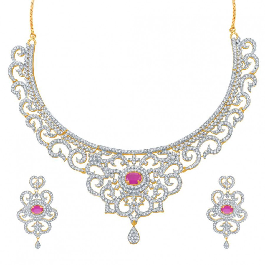 Buy Pissara Indian Wedding Ruby Studded Gold and Rhodium Plated CZ Necklace Set Online