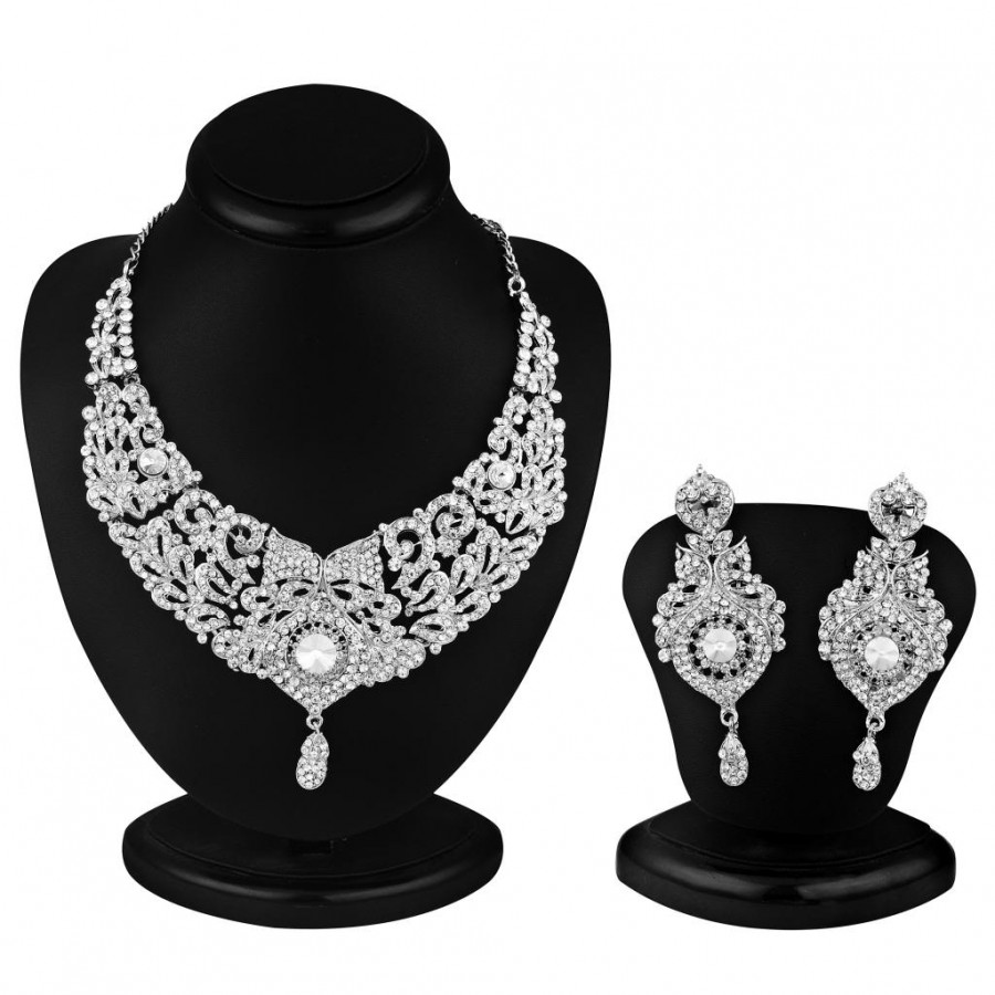 Buy Sukkhi Delightful Rhodium plated AD Stone Necklace Set Online
