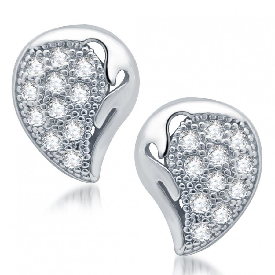 Buy Pissara Glamorous Rhodium Plated Micro Pave CZ Earrings Online