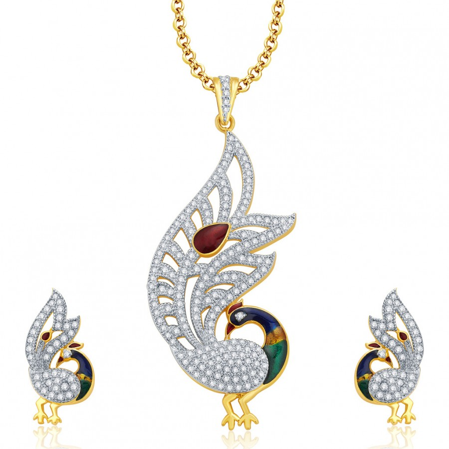 Buy Pissara Hypnotize Peacock Gold And Rhodium Plated CZ Pendant Set For Women Online