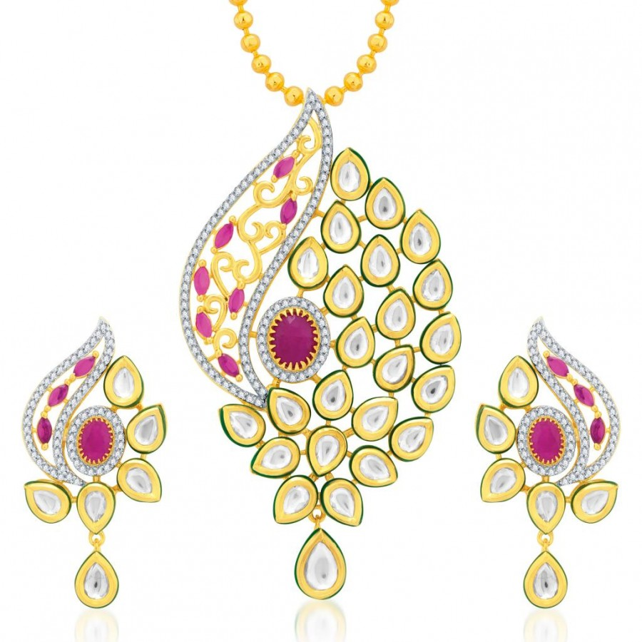 Buy Pissara Glorious Gold Plated Kundan and CZ Fusion Jewellery Pendant Set Online