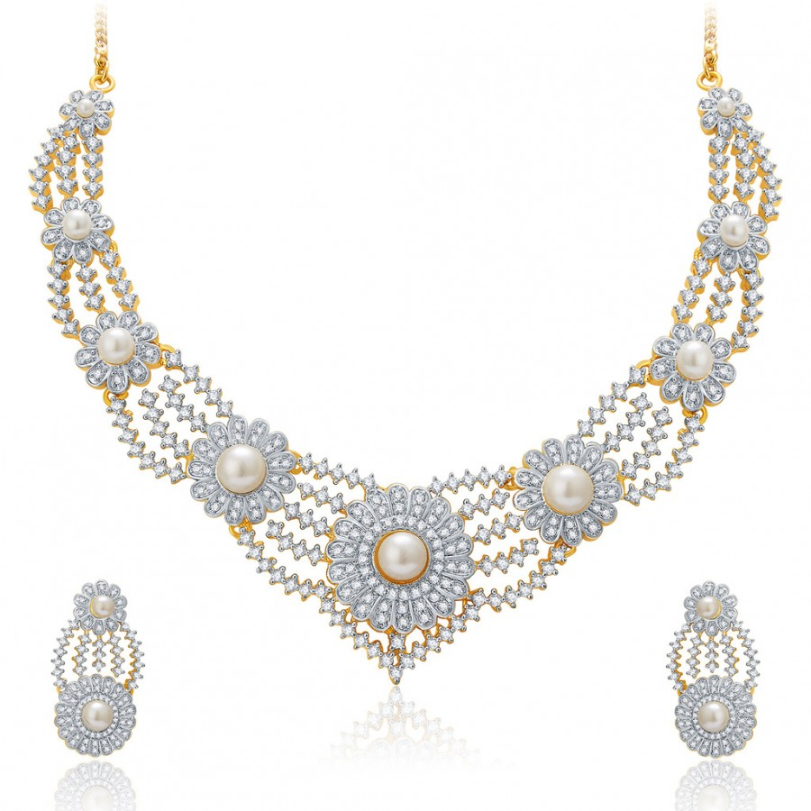 Buy Pissara Exquisite Gold And Rhodium Plated CZ Neklace Set For Women Online